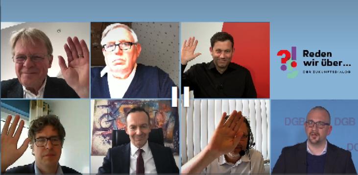 Reiner Hoffmann, Karl-Josef Laumann, Lars Klingbeil, Michael Kellner, Volker Wissing und Jörg Schindler stimmen über die Fortsetzung von Homeoffice nach der Pandemie ab