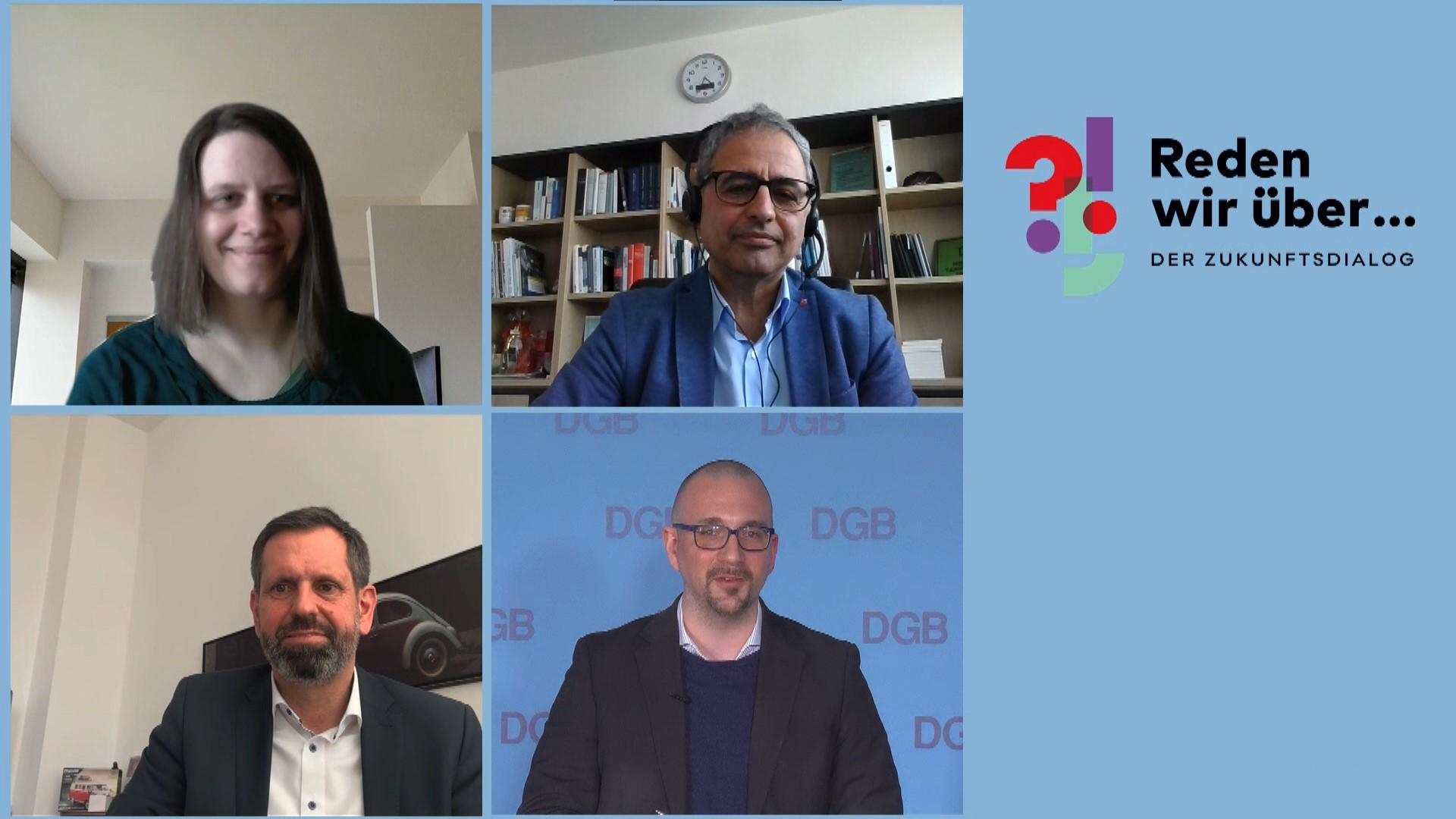 Mehrdad Payandeh, Julia Willie Hamburg und Olaf Lies während Panel-Diskussion zu bezahlbarem Wohnraum in Niedersachsen.