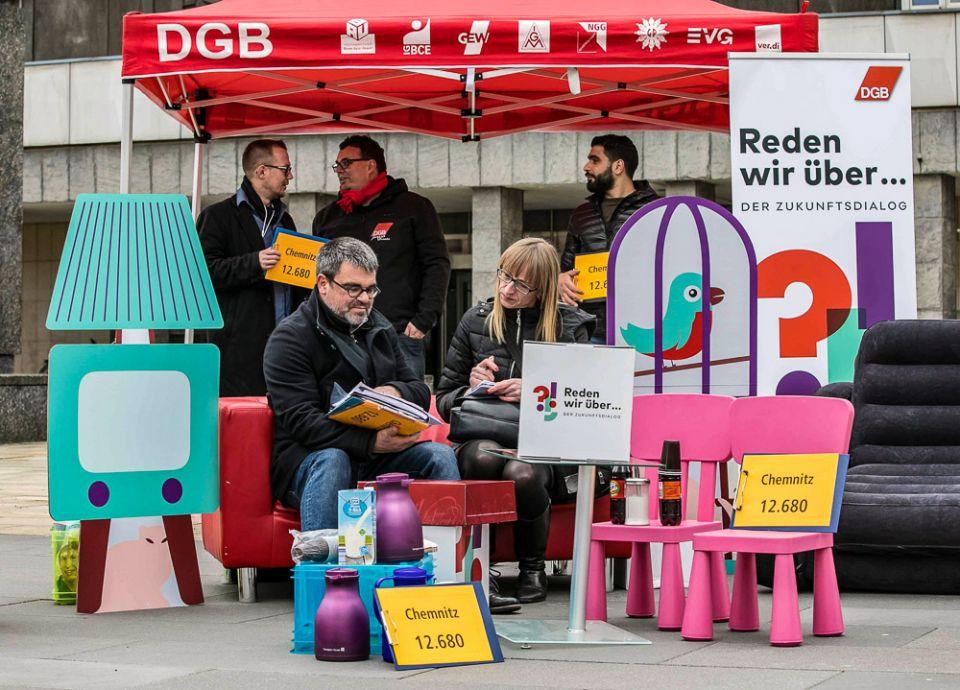 DGB-Aktion für mehr bezahlbaren Wohnraum in Chemnitz