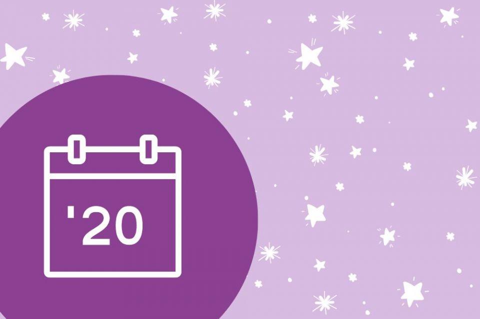 Kalender 2020 mit Sternenhintergrund
