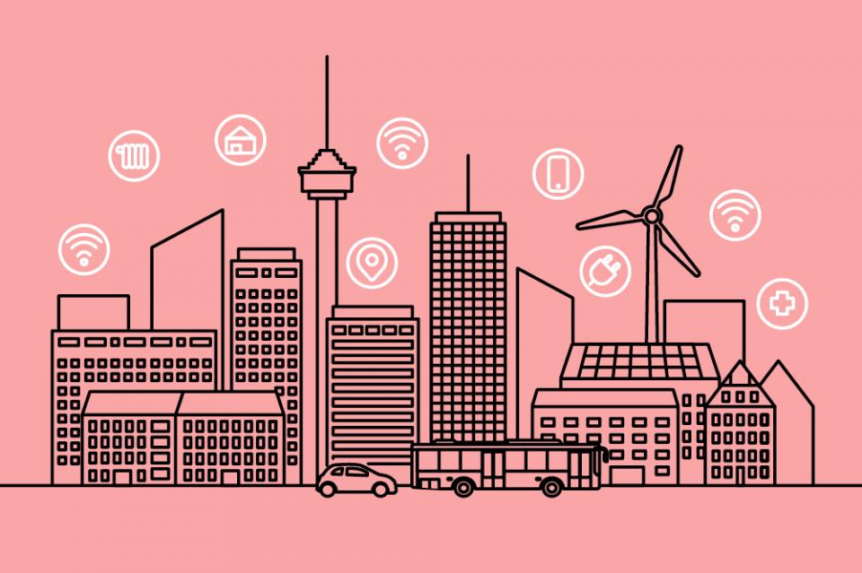 Smart City: Windrad, Hochhäuser, Funkturm, Bus, Auto