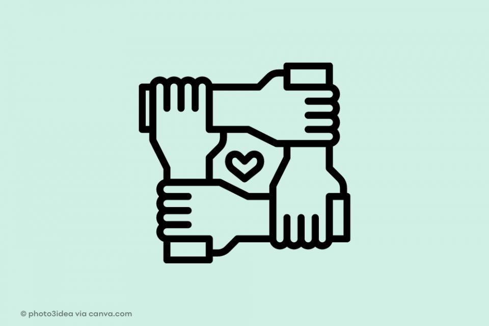 Hände fassen ineinander in der Mitte ein Herz: Solidarität