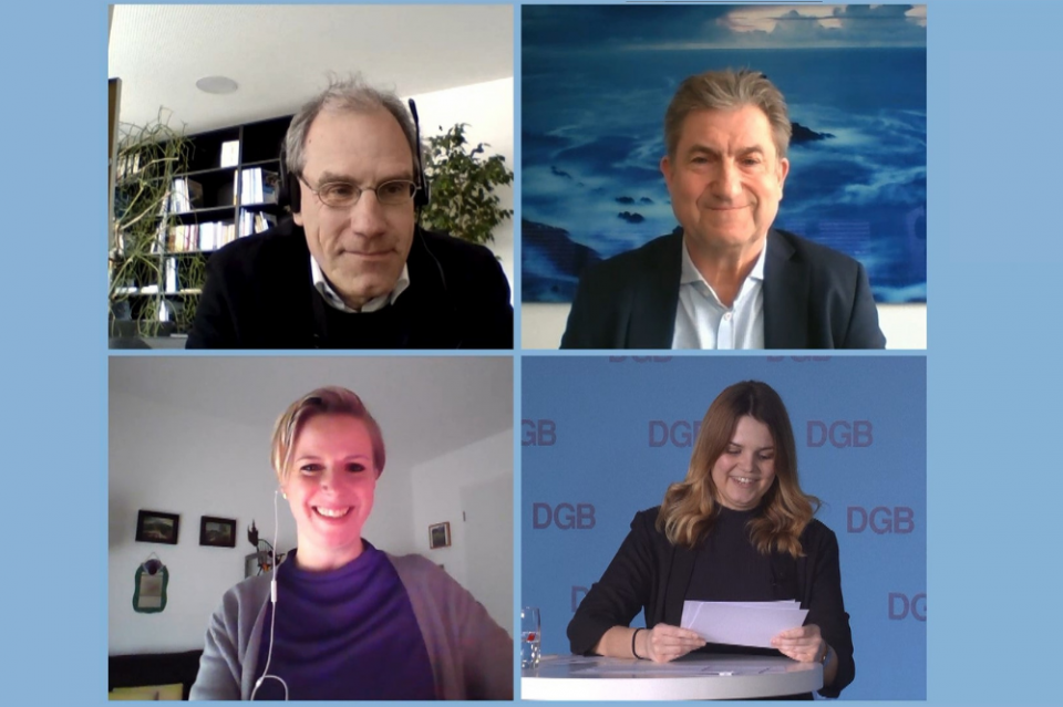 Maren Diebel-Ebers, Alexander Thewalt und Karl Breer bei der Digitalen Transferkonferenz.