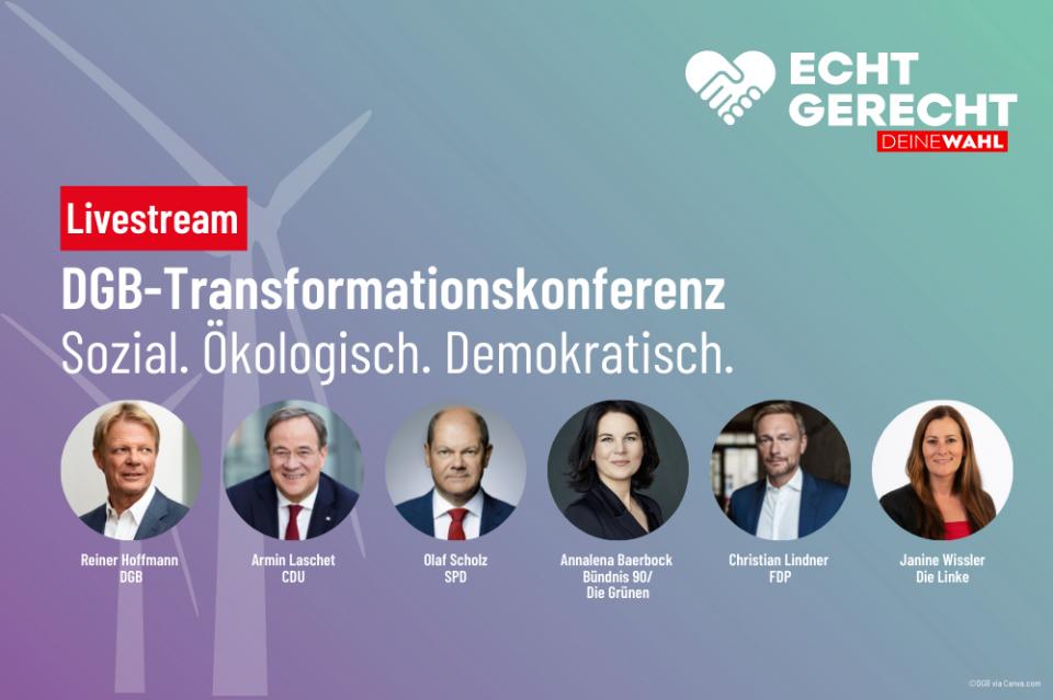 DGB-Transformationskonferenz mit Spitzenkandidat*innen von CDU, SPD, Bündnis 90/ Die Grünen, FDP und Die Linke
