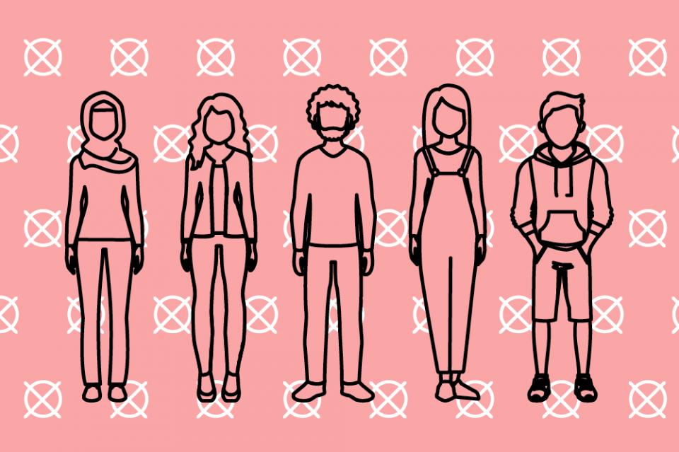 Erwachsene vor Hintergrund mit Wahlkreuzen