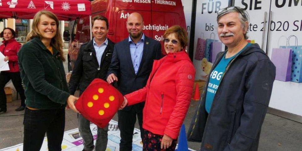 Zur Landtagswahl in Thüringen organisiert der DGB in Gera ein Wahlopoly
