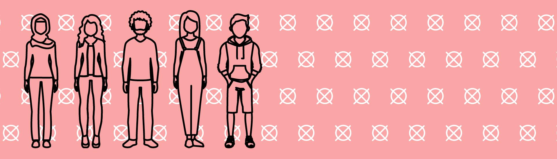 Wählerinnen und Wähler im Hintergrund: Wahlkreuze