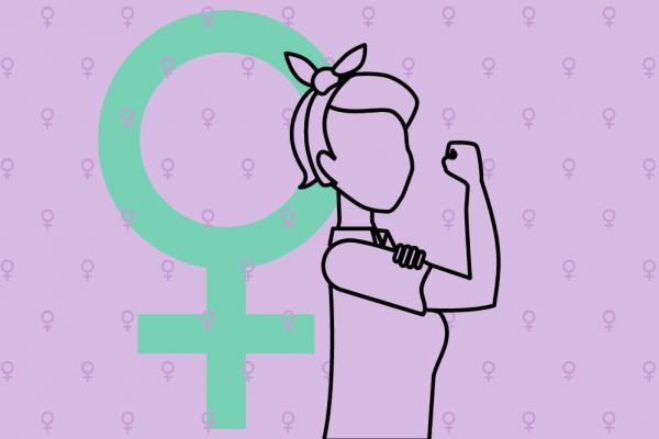 Rosie the Riveter mit Frauenzeichen im Hintergrund