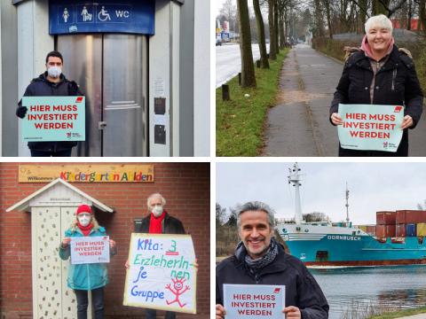 Ob Schwimmbad, Kita oder Straßen: Gemeinsam mit DGB zeigen Menschen, wo investiert werden muss