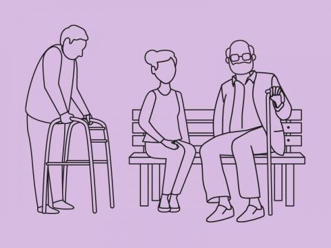 Zwei alte Männer und eine junge Frau mit Bank